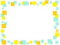 黄色と黄緑色の四角の囲みフレーム飾り枠イラスト