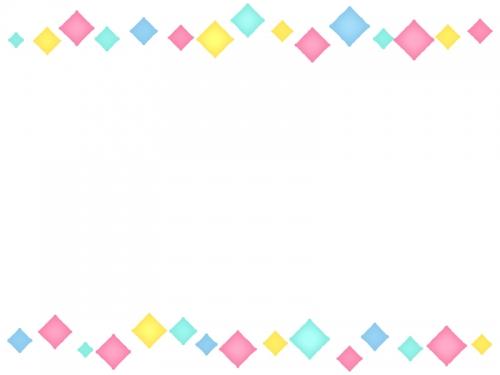 パステルカラーのひし形の上下フレーム飾り枠イラスト