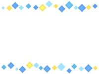 青と黄色のひし形の上下フレーム飾り枠イラスト