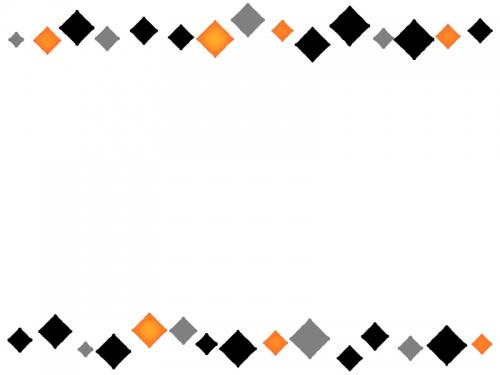 黒とオレンジ色のひし形の上下フレーム飾り枠イラスト