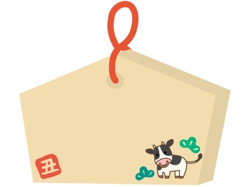 牛の絵馬のフレーム飾り枠イラスト