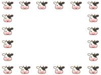 かわいい牛の顔の囲みフレーム飾り枠イラスト