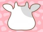 牛の顔の形と牛柄模様(ピンク色)のフレーム飾り枠イラスト