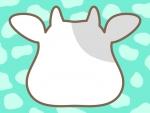 牛の顔の形と牛柄模様(ミント色)のフレーム飾り枠イラスト