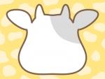 牛の顔の形と牛柄模様(黄色)のフレーム飾り枠イラスト