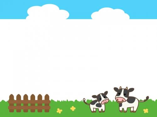 牧場の牛と青空の上下フレーム飾り枠イラスト