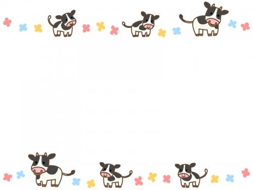 牛とパステルカラーのお花の上下フレーム飾り枠イラスト