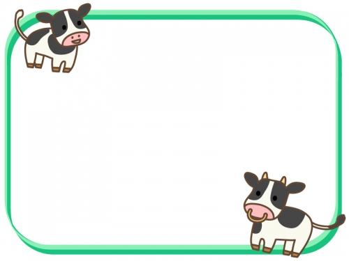 2頭のかわいい牛と緑色の四角フレーム飾り枠イラスト