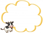 かわいい牛と黄色のもこもこフレーム飾り枠イラスト