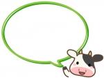 かわいい牛の顔と黄緑色の吹き出しフレーム飾り枠イラスト