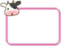 かわいい牛の顔とピンク色の四角フレーム飾り枠イラスト