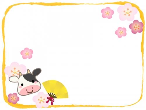 牛と金色の扇子と梅の花の黄色フレーム飾り枠イラスト