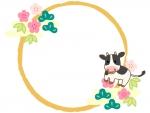 牛と松竹梅と筆線の円形お正月フレーム飾り枠イラスト