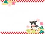 牛と松竹梅と上下の市松模様のお正月フレーム飾り枠イラスト