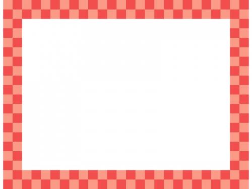 赤色の市松模様の四角フレーム飾り枠イラスト