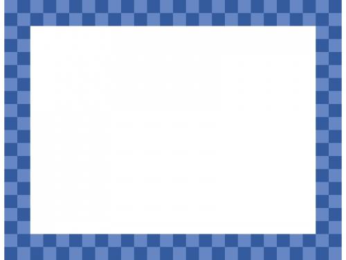 紺色の市松模様の四角フレーム飾り枠イラスト