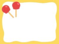 あんず飴の黄色フレーム飾り枠イラスト