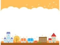 秋の建物・街並みと空の上下フレーム飾り枠イラスト