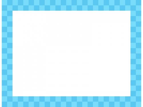 水色の市松模様の四角フレーム飾り枠イラスト