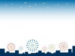 夜空と建物のシルエットと花火のフレーム飾り枠イラスト