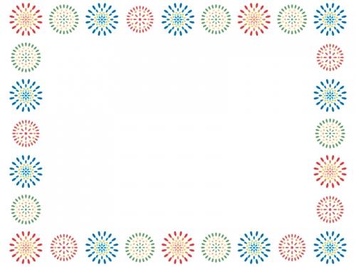 花火の模様の囲みフレーム飾り枠イラスト