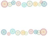花火の模様の上下フレーム飾り枠イラスト