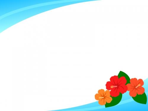 ハイビスカスの水色フレーム飾り枠イラスト