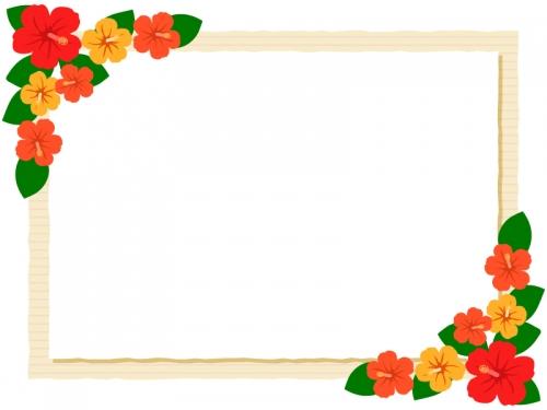 ハイビスカスの花のベージュ色フレーム飾り枠イラスト