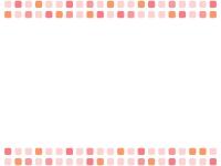 ピンク色系の四角の上下フレーム飾り枠イラスト