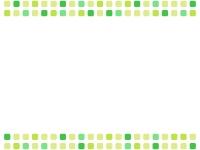 黄緑色系の四角の上下フレーム飾り枠イラスト