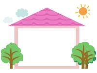 太陽と雲と家のフレーム飾り枠イラスト