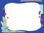 肝試しの青色フレーム飾り枠イラスト