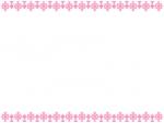 ピンク色のレース模様の上下フレーム飾り枠イラスト