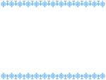 水色のレース模様の上下フレーム飾り枠イラスト