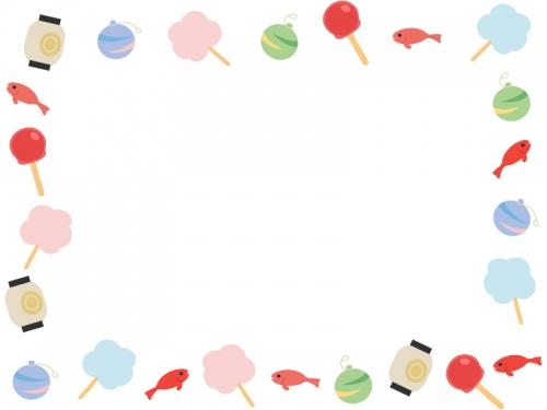 お祭り・縁日のフレーム飾り枠イラスト
