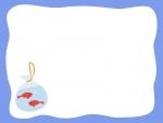 金魚の青色フレーム飾り枠イラスト