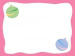水風船のピンク色フレーム飾り枠イラスト