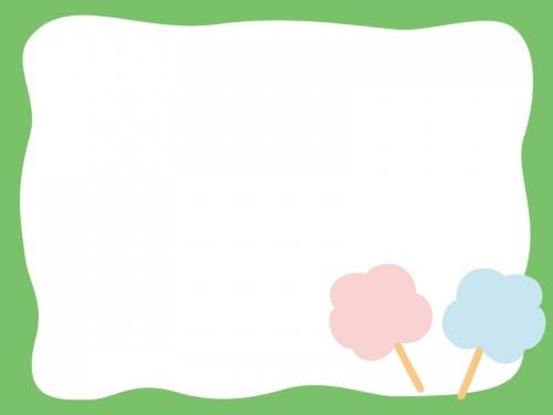綿あめの緑色フレーム飾り枠イラスト
