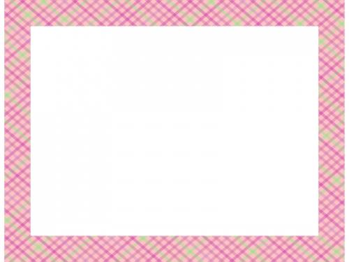 ピンク色の斜めチェック模様の四角フレーム飾り枠イラスト
