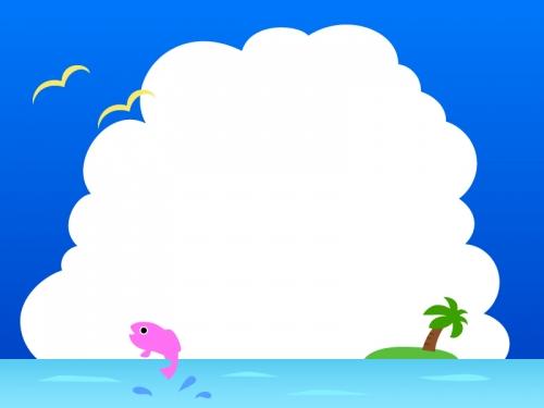 ヤシの木と海と入道雲のフレーム飾り枠イラスト