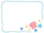 貝やヒトデの手書き風筆線フレーム飾り枠イラスト