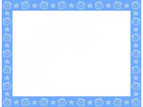貝やヒトデの水色四角フレーム飾り枠イラスト