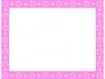 貝やヒトデのピンク色四角フレーム飾り枠イラスト
