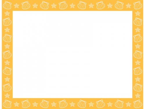 貝やヒトデの黄色四角フレーム飾り枠イラスト