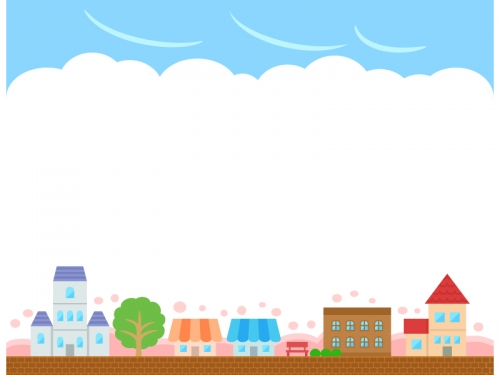 春の建物・街並みと空の上下フレーム飾り枠イラスト