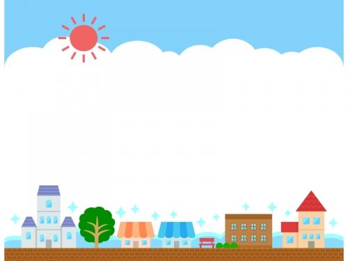 夏の建物・街並みと空の上下フレーム飾り枠イラスト