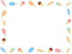 アイスキャンディーやアイスクリームの囲みフレーム飾り枠イラスト