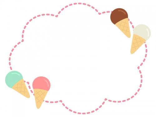 アイスクリームのピンク色点線もこもこフレーム飾り枠イラスト