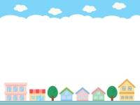 建物・街並みと青空の上下フレーム飾り枠イラスト