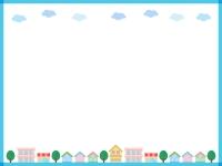建物・街並みの青色フレーム飾り枠イラスト